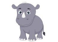 baby rhinoceros cartoon style clipart. Size: 26 Kb