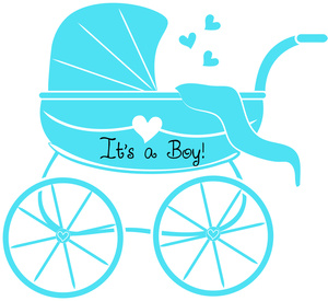 Baby Shower Graphic Of Stroller Or Baby Carriage With Its A Boy Text