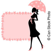 ... Baby Shower (pink) - Illu - Pregnant Lady Clip Art