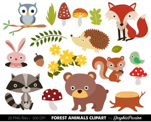 Baby Woodland Animals Clipart - Woodland Animal Clipart
