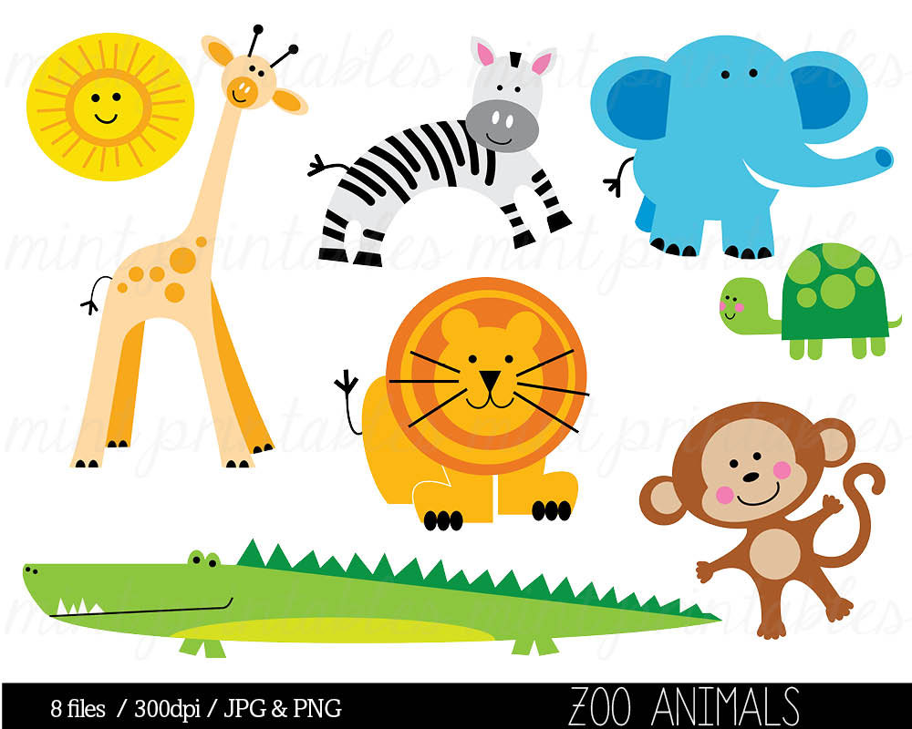 Baby Zoo Animals Clip Art