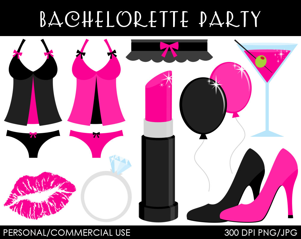 Bachelorette Party Clipart - Digital Clip Art Graphics for Personal or Commercial Use