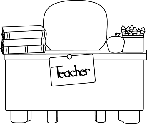 Back and White Teacheru0026#39;s Desk