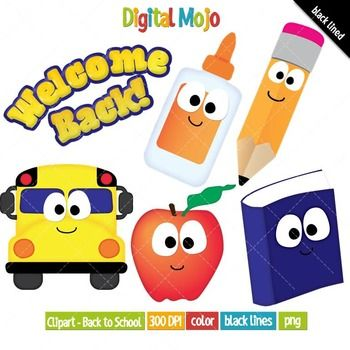 Back to School Clipart Set. Available for commercial use... What you get