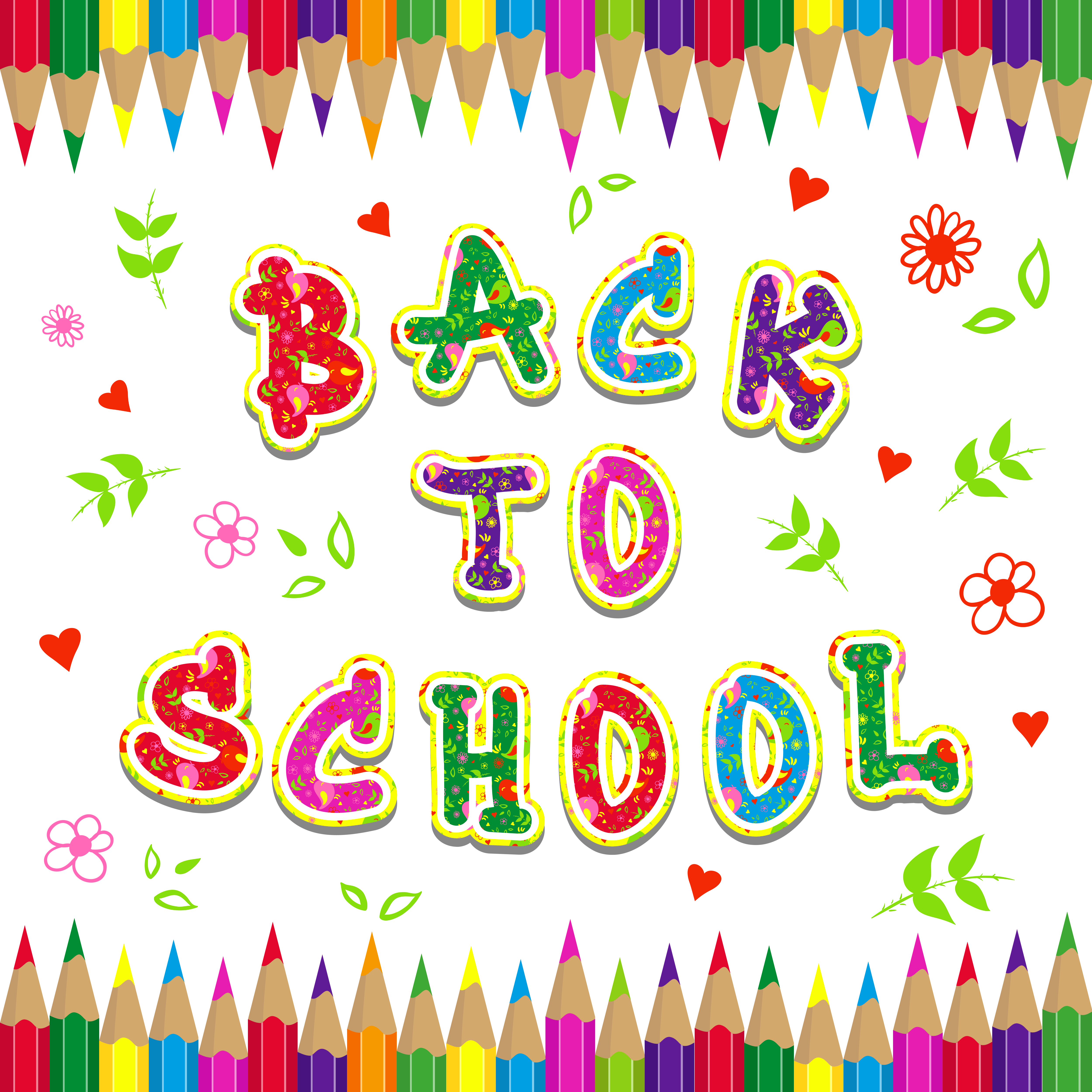 Back to school colorful clipart picture