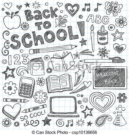Back To School Sketchy Doodles Set - Bac-Back to School Sketchy Doodles Set - Back to School Supplies.-2