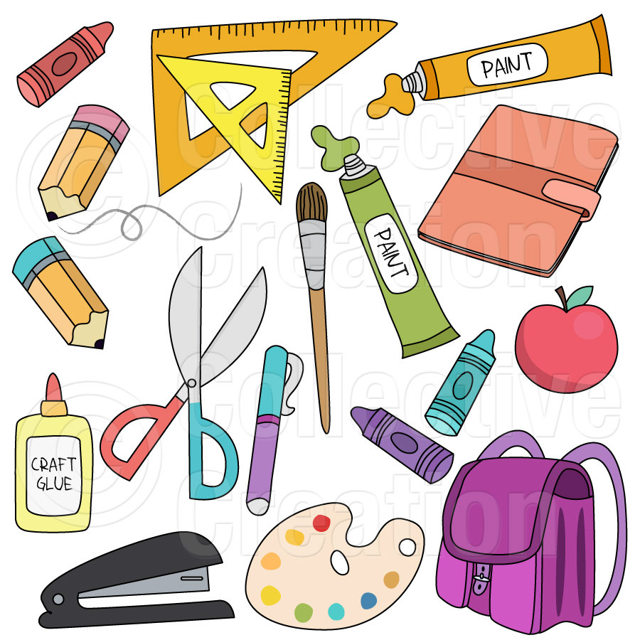 Back To School Supplies Digital Clip Art By Collectivecreation