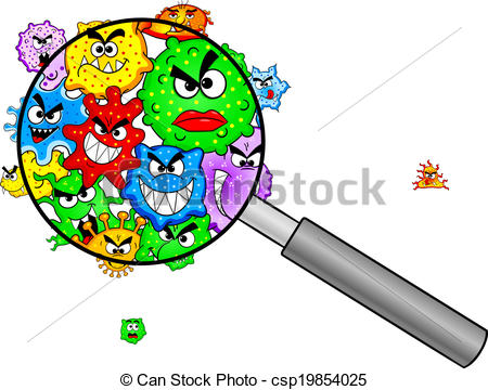 ... Bacteria Under A Magnifying Glass - -... bacteria under a magnifying glass - vector illustration of... bacteria under a magnifying glass Clip Artby ...-12