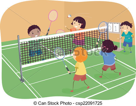 ... Badminton Doubles - Illustration Fea-... Badminton Doubles - Illustration Featuring Kids Playing.-14