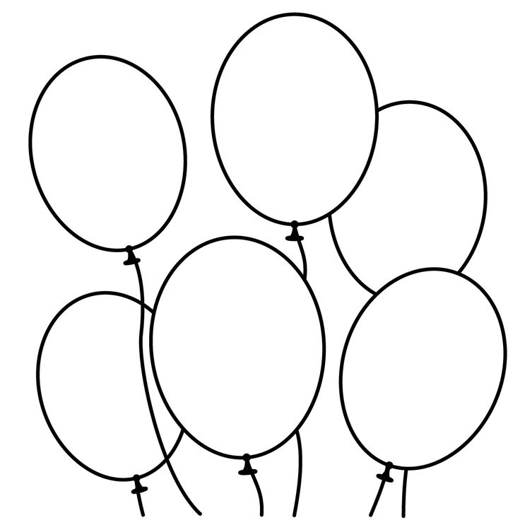 Balloons outline. Clipart black and