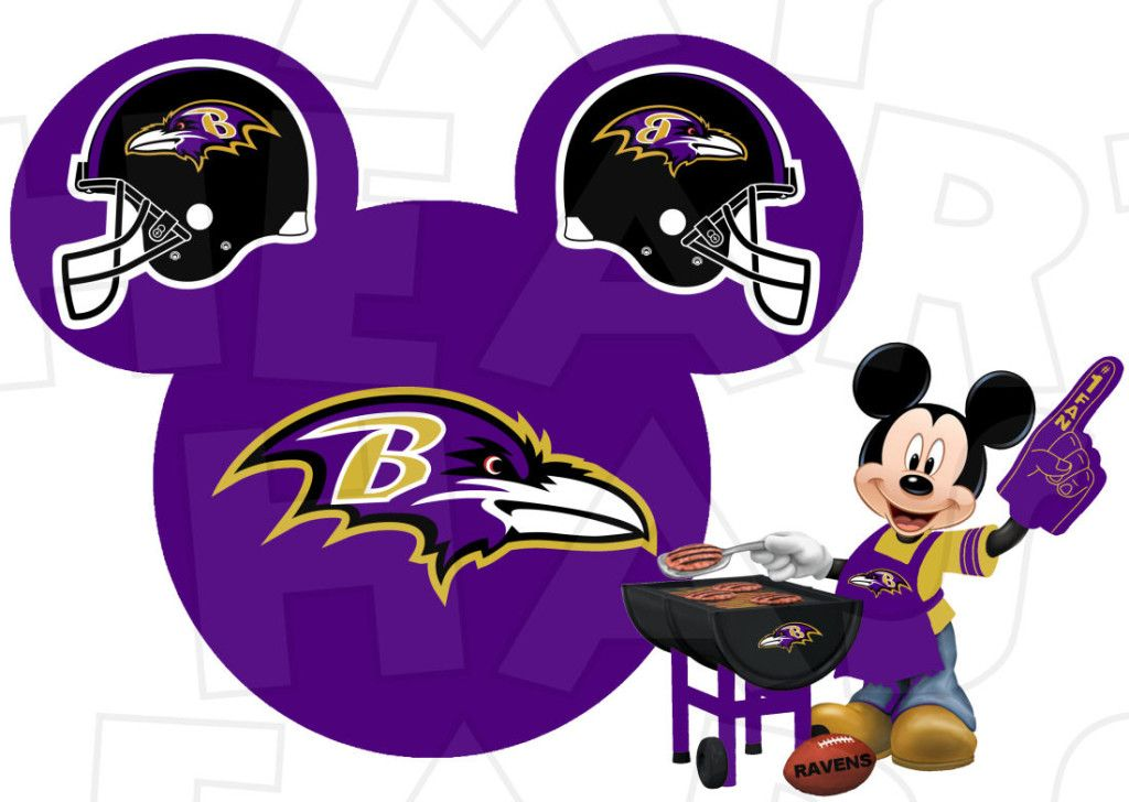 Baltimore Ravens Football With Mickey Mo-Baltimore Ravens football with Mickey Mouse INSTANT DOWNLOAD digital clip  art :: My Heart Has-5
