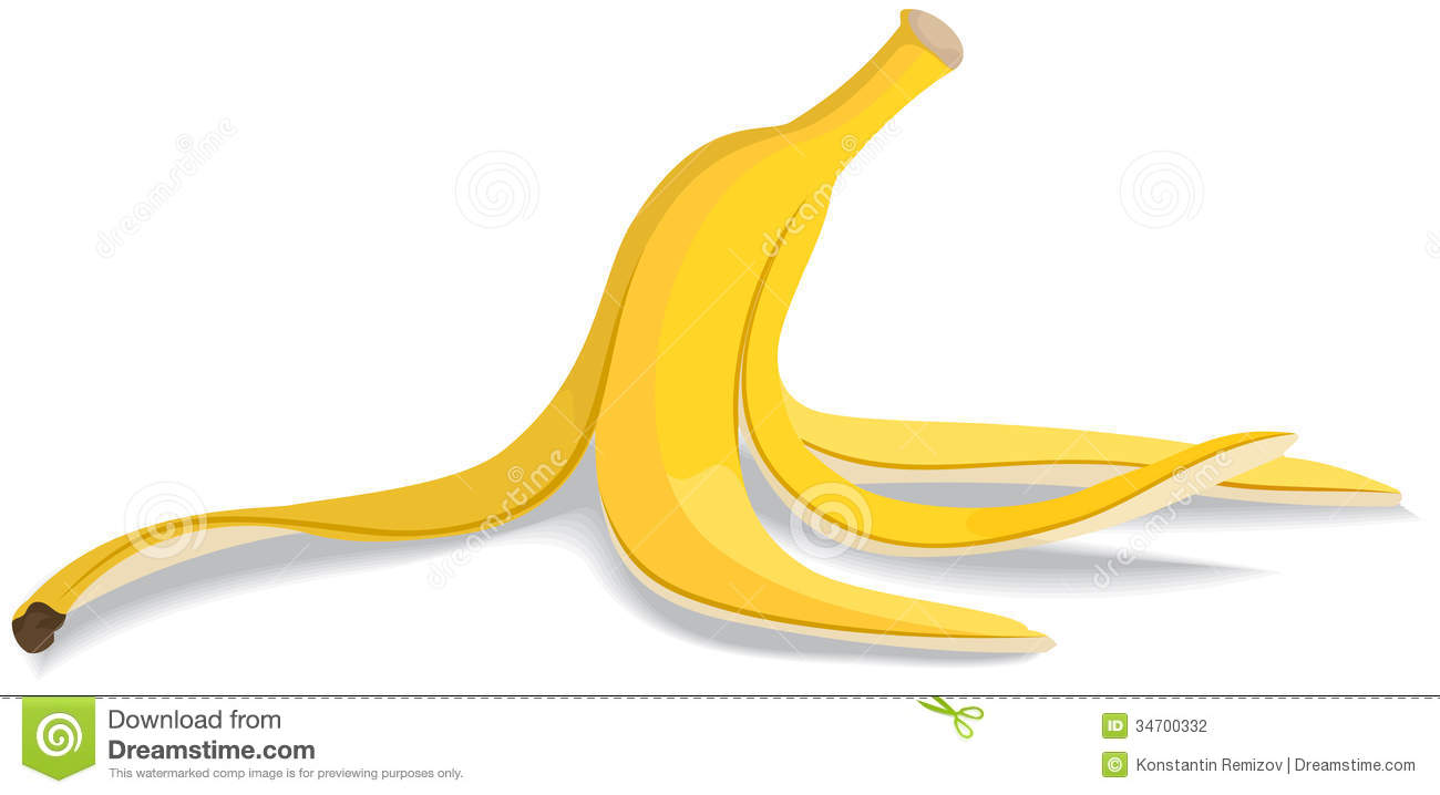 Banana Peel On A White Background Vector Illustration