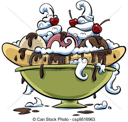 ... Banana Split - A huge, dripping cart-... Banana Split - A huge, dripping cartoon banana split.-11