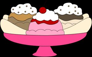 Banana Split Clip Art - banana split in -Banana Split Clip Art - banana split in a pink ice cream dish with one scoop of chocolate ice cream, one scoop of vanilla ice cream and one scoop of vanilla ...-0