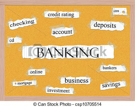 ... Banking Corkboard Word Concept with great terms such as.