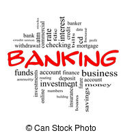 ... Banking Word Cloud Concept in red u0026 black - Banking Word.