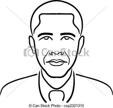 Barack Obama line drawing - csp2321310