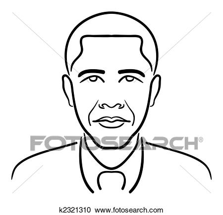 Clipart - Barack Obama line drawing. Fotosearch - Search Clip Art,  Illustration Murals,