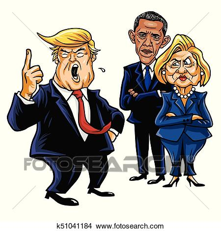Clipart - Donald Trump, Hillary Clinton, and Barack Obama. Cartoon  Caricature Vector Illustration