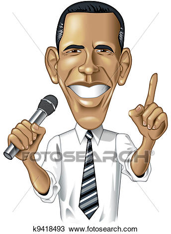 Drawing - Barack Obama Caricature. Fotosearch - Search Clipart,  Illustration, Fine Art Prints
