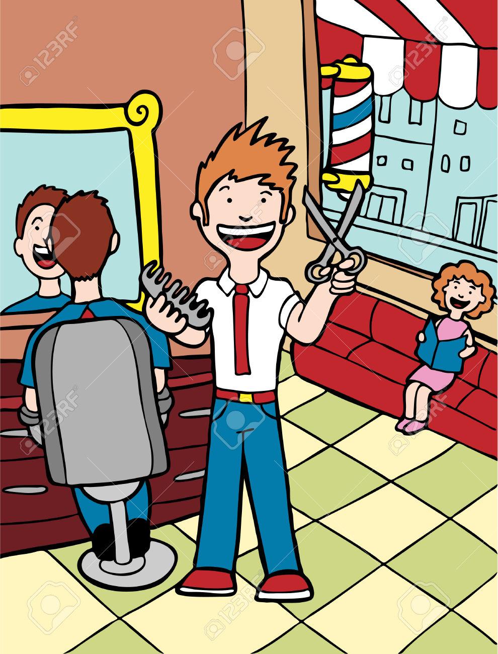 Barber Shop Cartoon Barber .