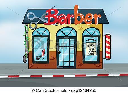 ... Barber shop - Illustration of barber shop on road