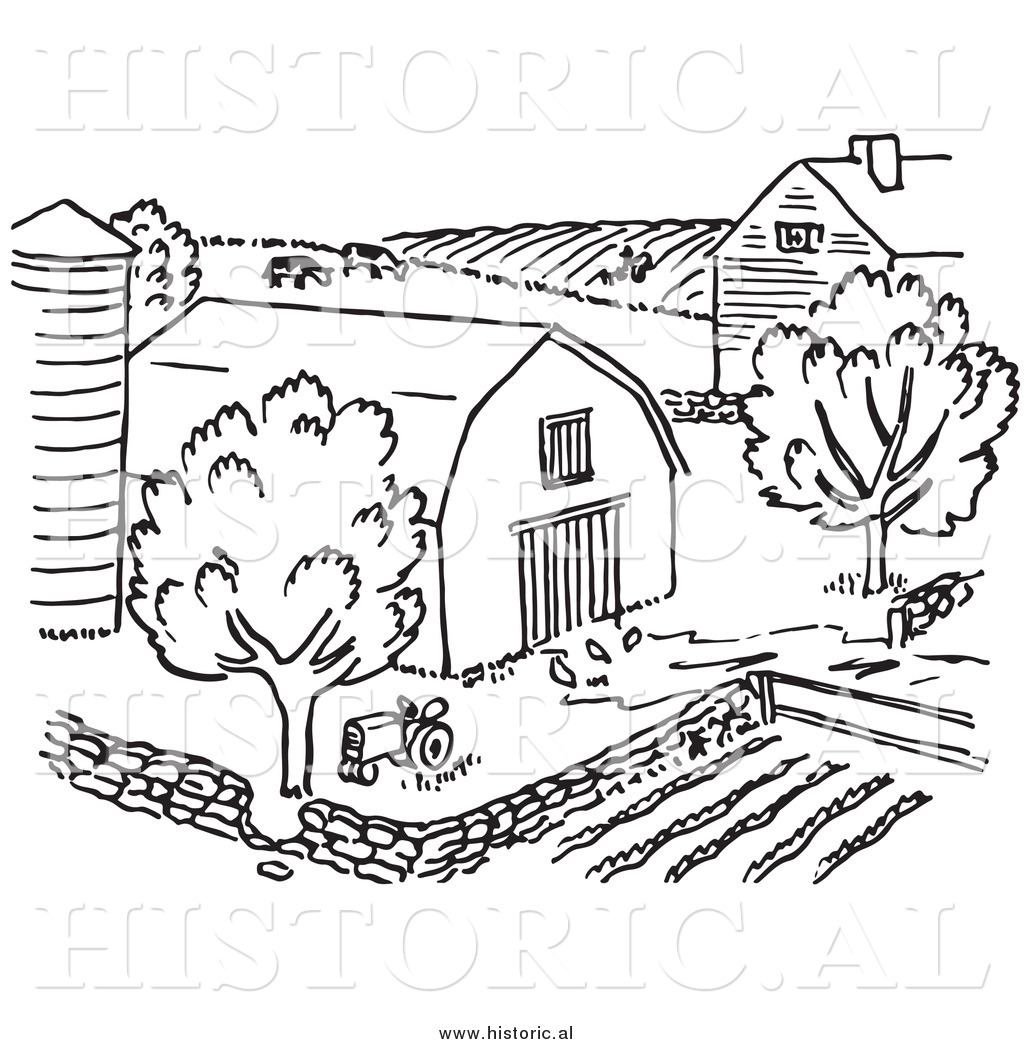 Barn Clipart Black And White Clipart Of A Farm With Barn