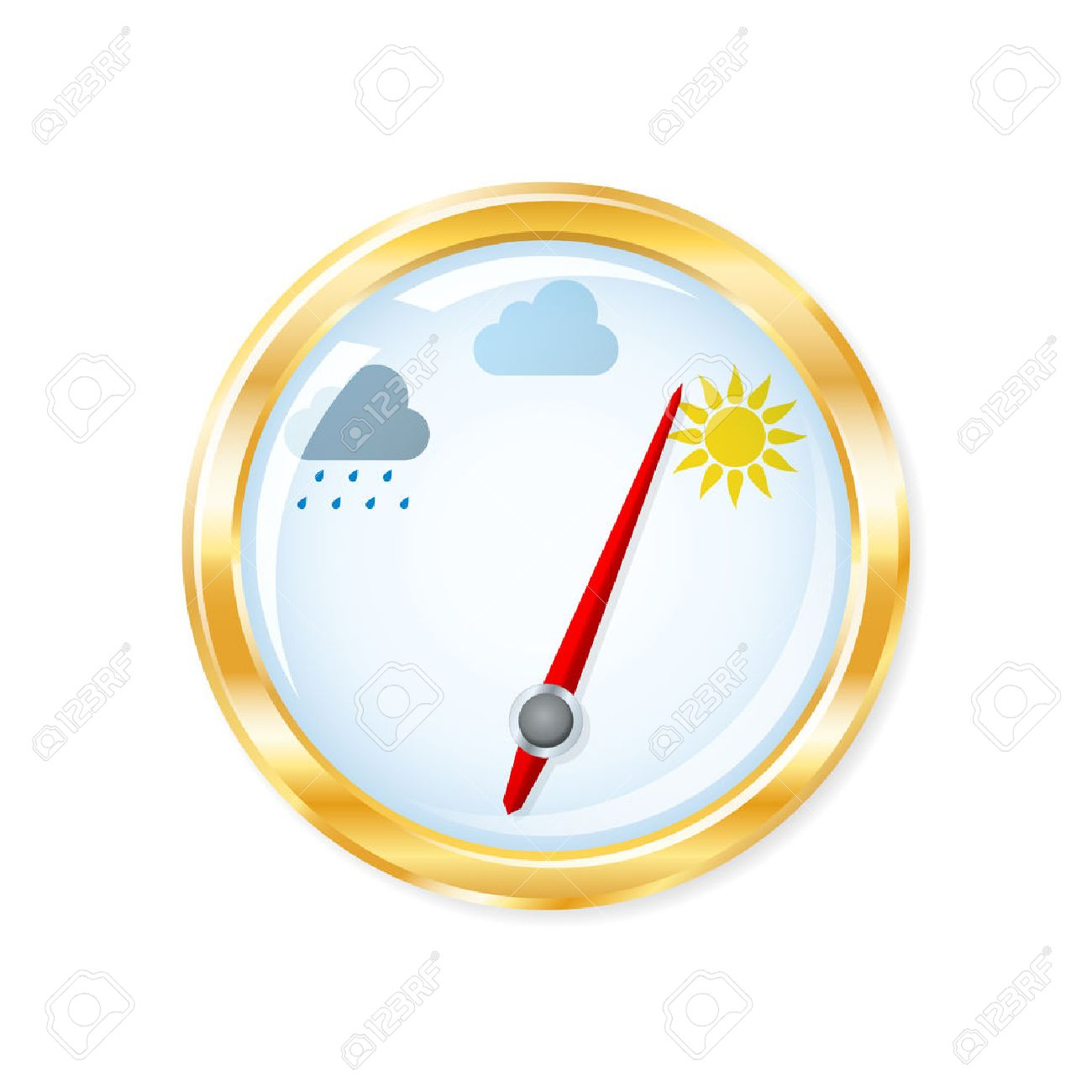 Barometer measuring indicates sunny weather. Vector illustration. Stock  Vector - 23167496