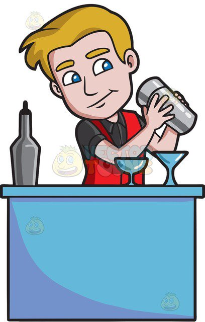 A Bartender Shaking A Cocktail Mixer Behind The Bar Cartoon Clipart |  Vector Toons
