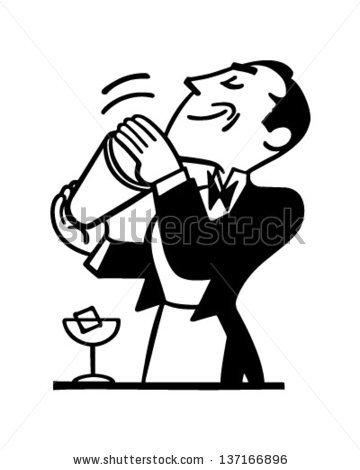 Bartender Mixing Drink - Retr - Bartender Clipart