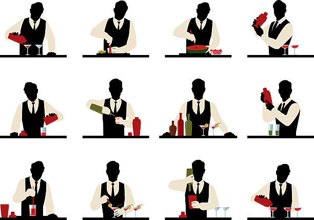 Set of silhouettes of a bartender prepares cocktails vector art illustration
