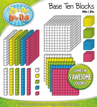 Base Ten Blocks Cube Clip Art Set 1 u2014 Over 25 Rainbow Color Graphics | Flats, Colors and Place values
