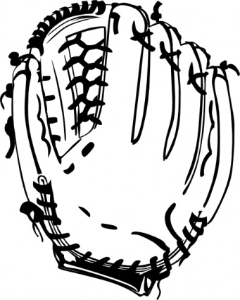 baseball glove clipart black and white