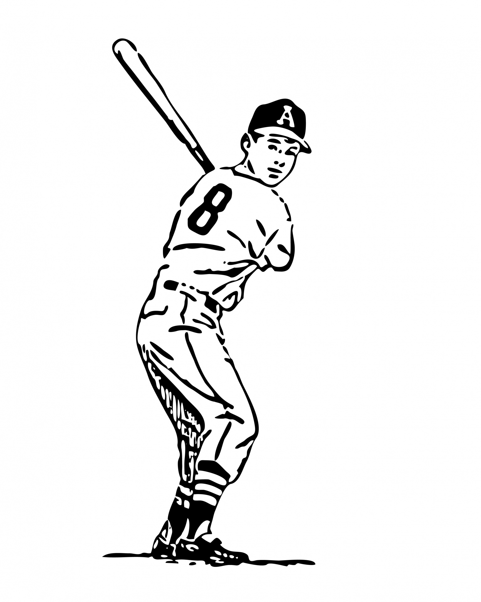 Baseball Batter Clipart Line Art