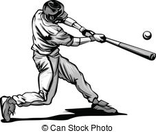 Baseball Batter Hitting Pitch Vecto - Baseball Hitter.