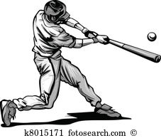 Baseball Batter Hitting Pitch Vecto