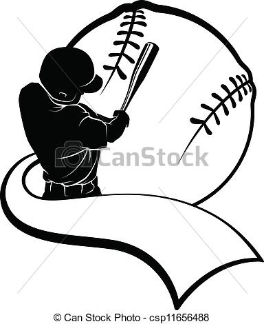 ... Baseball Batter with Pennant - Vector illustration of a.