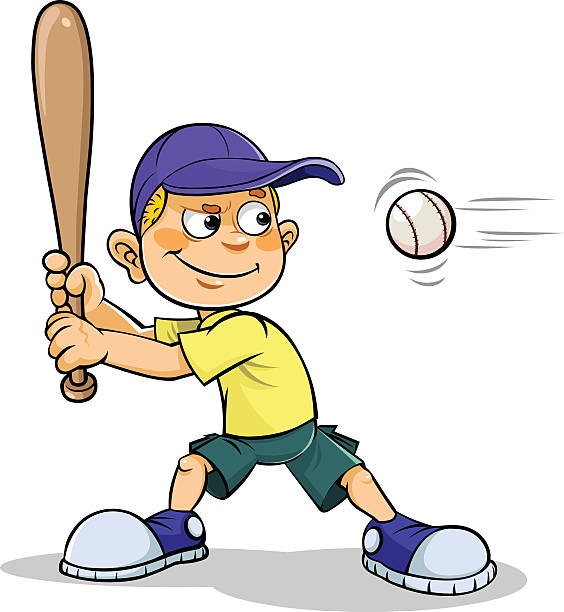 Cartoon boy playing Baseball vector art illustration