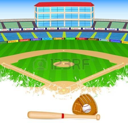 baseball field: vector illustration of b-baseball field: vector illustration of baseball field with bat, ball and  gloves-19