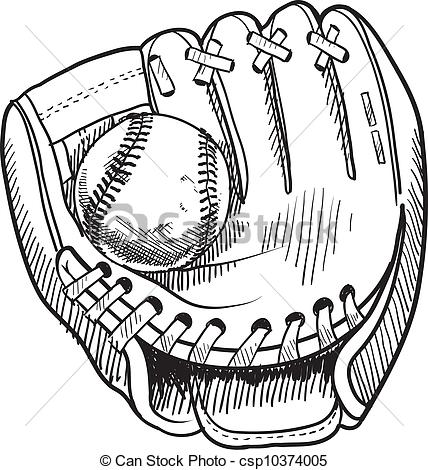 ... Baseball glove sketch - Doodle style baseball and glove in.