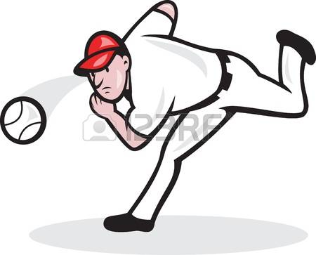 Baseball Pitcher: Illustration Of A Amer-baseball pitcher: Illustration of a american baseball player pitcher throwing ball cartoon style isolated on-15