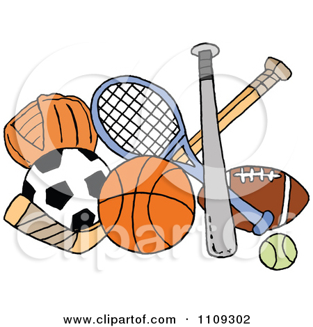 Baseball Soccer Basketball Hockey Tennis And Football Sports Equipment by LaffToon