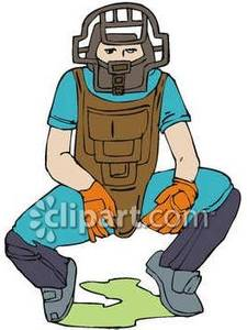 Baseball Umpire Squatting Behind Home Pl-Baseball Umpire Squatting Behind Home Plate Royalty Free Clipart Picture-18