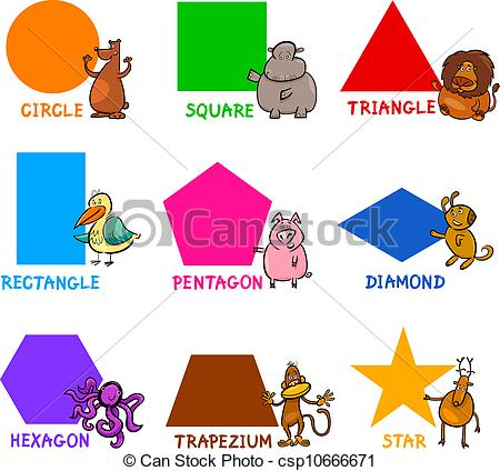 Basic Geometric Shapes with Cartoon Animals - Cartoon.