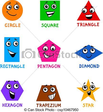 ... Basic Geometric Shapes with Cartoon Faces - Cartoon.