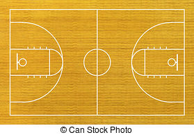 ... basketball court on wood background.