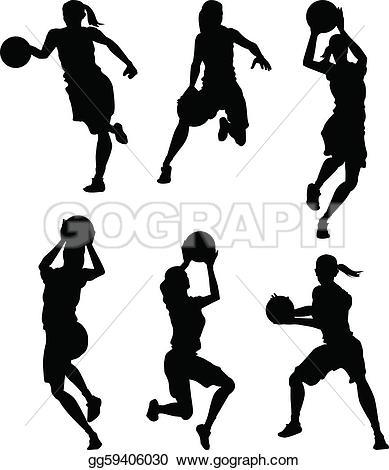 Basketball Female Women Silhouettes
