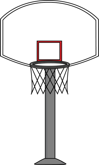 Basketball Goal Clip Art Image Basketball Goal On A Gray Post