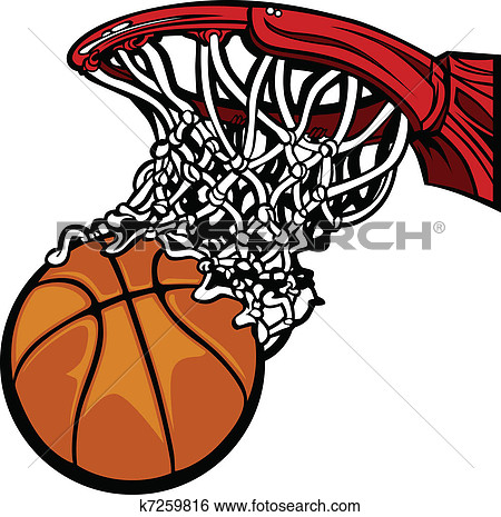 Basketball Hoop with Basketba - Basketball Clip Art