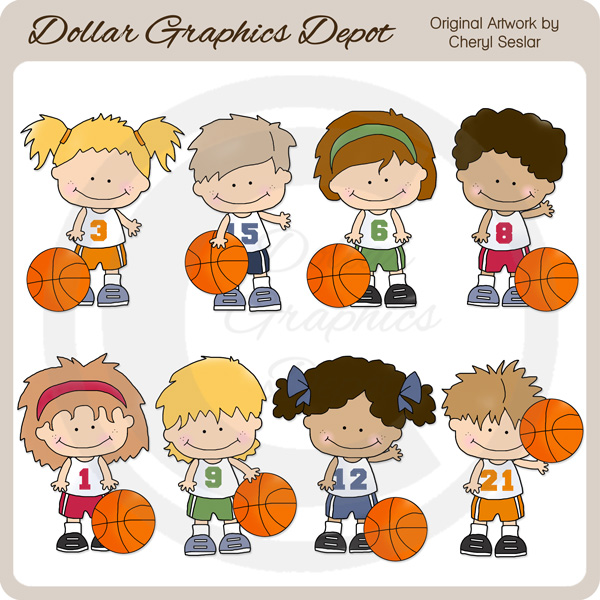 Basketball Kids - Clip Art-Basketball Kids - Clip Art-1